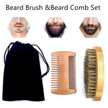 Load image into Gallery viewer, Natural Beard Comb Set Double Beard Oil Head Shape Beard Comb Brush Care Beard Oil Tool Beard Comb Set Professional