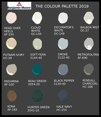benjamin moore 2019 color palette infographic with 15 swatches