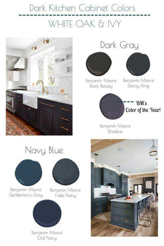 dark kitchen cabinet colours infographic showing dark gray and navy blue options