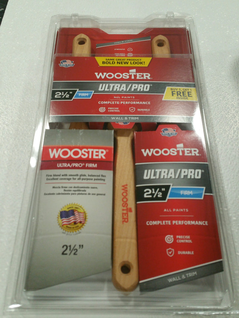 "Wooster 2-1/2"" Ultra Pro Firm Brush 3 Pack"
