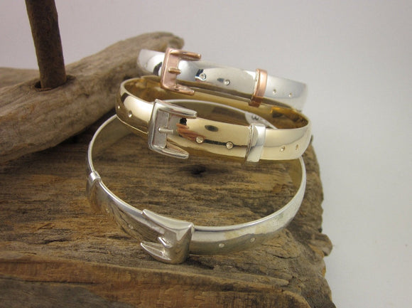 Jumbo Silver Buckle Bangle in Sterling Silverilver by Chele Clarkin