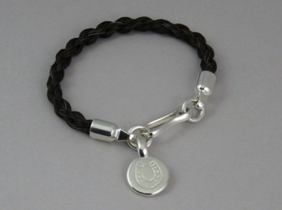 Horsehair Bracelet & Disc Tag with Horseshoe