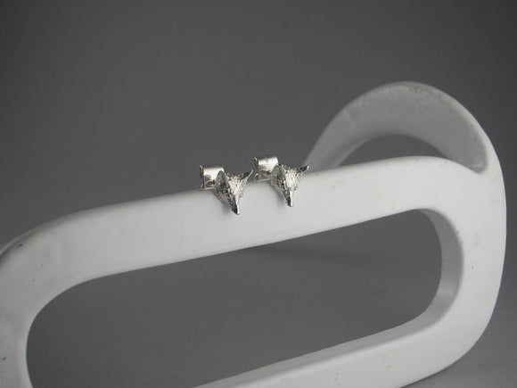 Small Fox Head Stud Earrings in Sterling Silver by Chele Clarkin