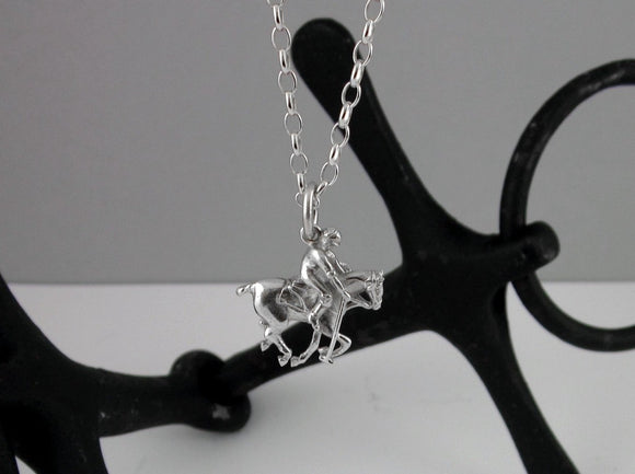 Polo Pony and Player Pendant in Sterling Silver by Chele Clarkin