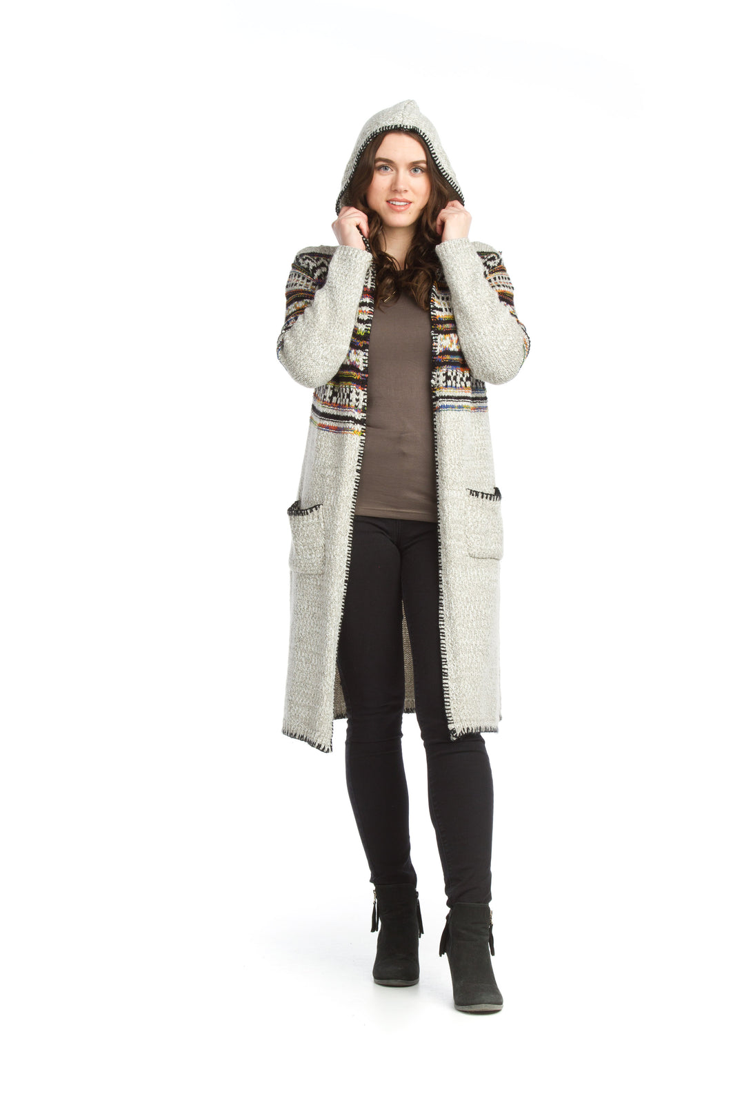 Global Knit Hooded Cardigan with Pockets
