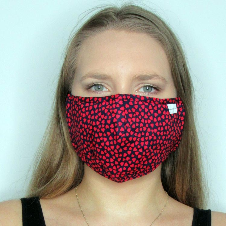 Heart Cotton Mask with Adjustable Straps