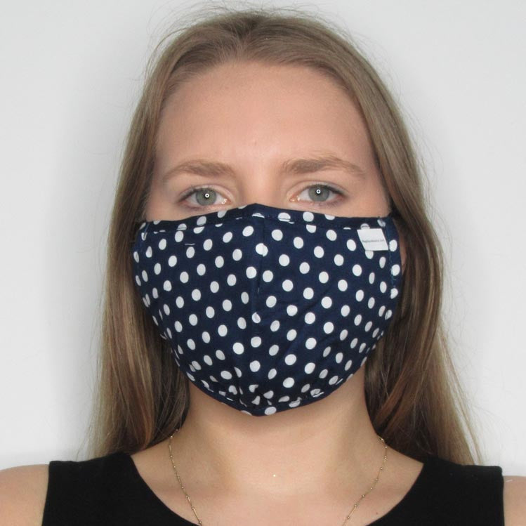 Polka Dot Cotton Mask with Adjustable Straps
