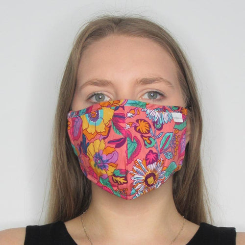 Bright Floral Cotton Mask with Adjustable Straps