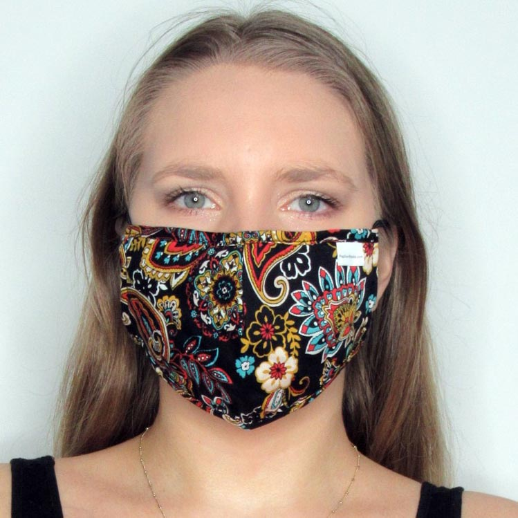 Paisley Cotton Mask with Adjustable Straps