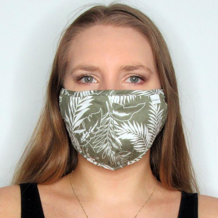 Tropical Cotton Mask with Adjustable Straps