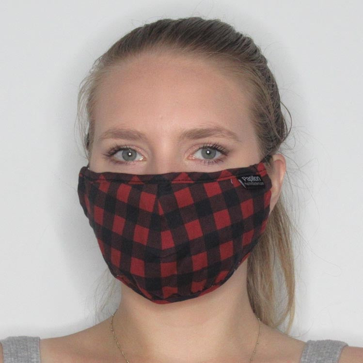 Gingham Cotton Mask with Adjustable Straps