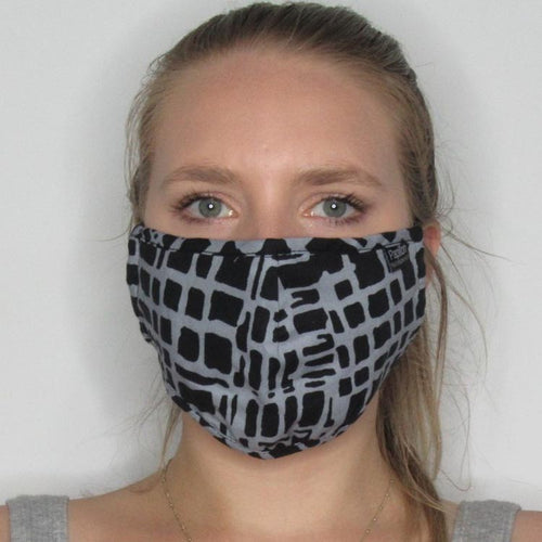 Abstract Plaid Cotton Masks with Adjustable Straps