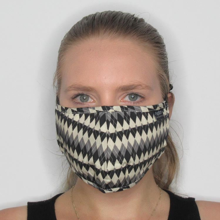Argyle Cotton Masks with Adjustable Straps