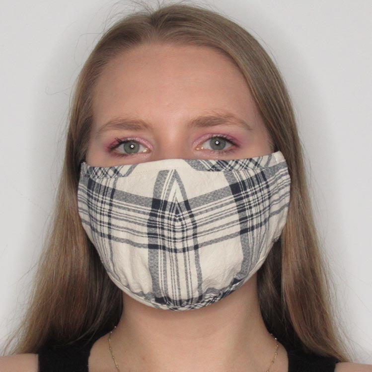 Plaid Cotton Mask with Adjustable Straps