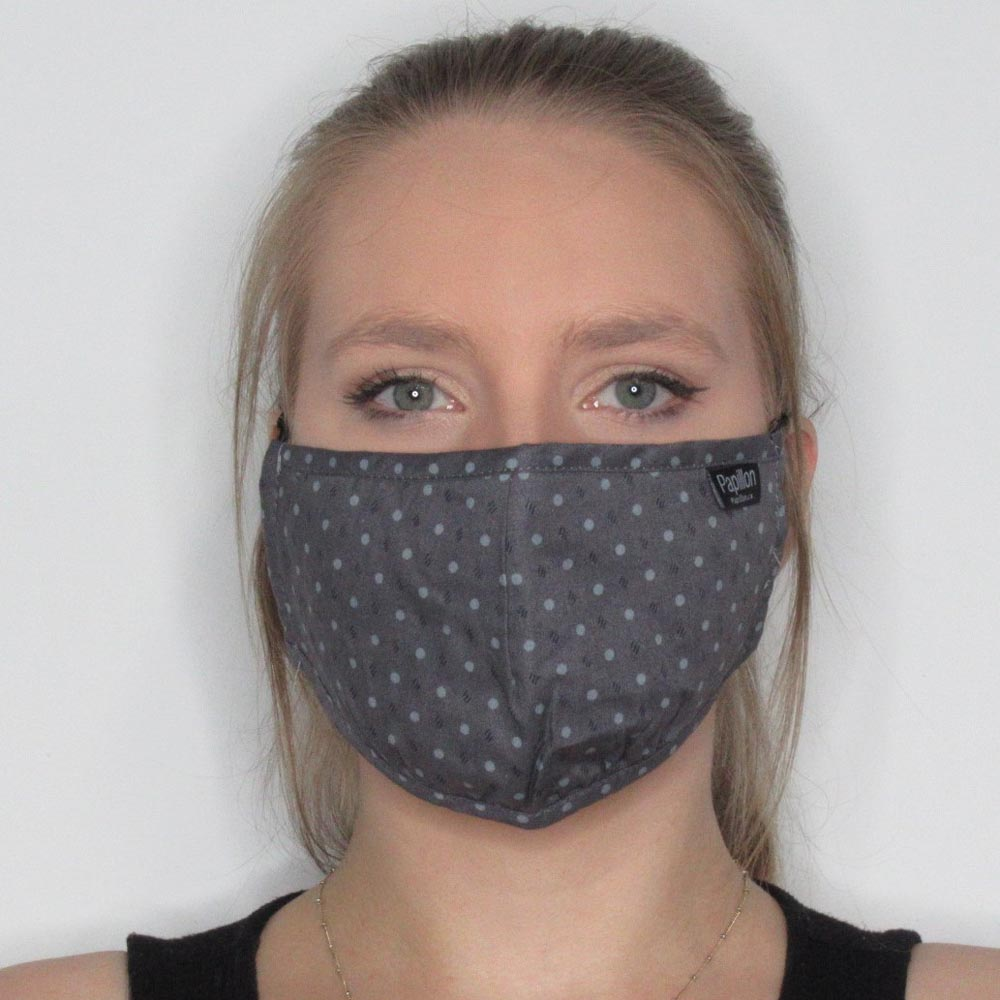 Heathered Dotted Cotton Mask with Adjustable Straps