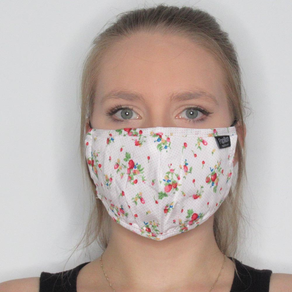 Strawberry Cotton Mask with Adjustable Straps