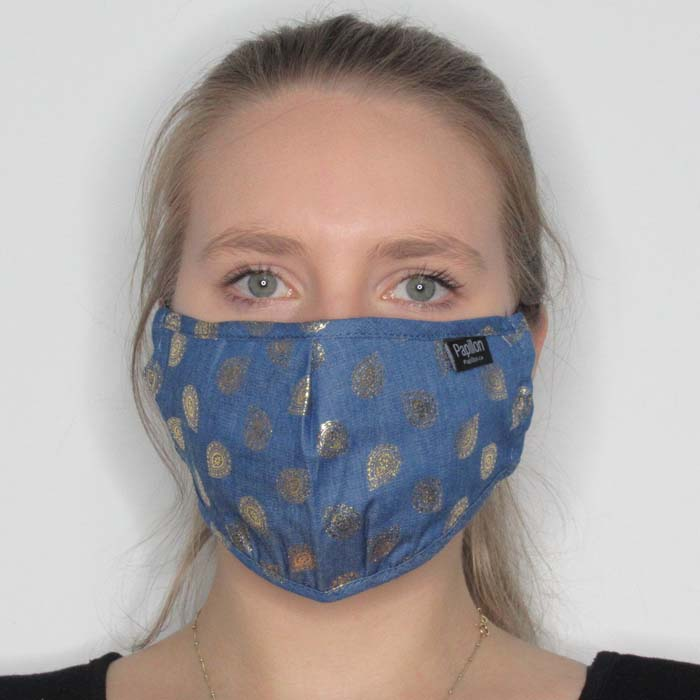 Denim Gold Paisley Cotton Mask with Adjustable Straps