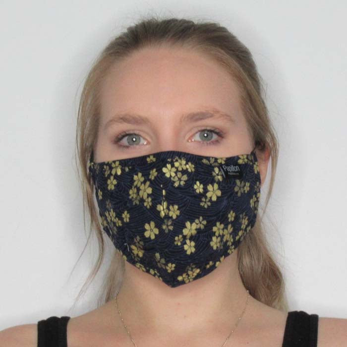 Gold Floral Cotton Mask with Adjustable Straps