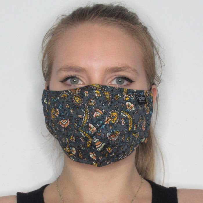 Ornamental Floral Cotton Mask with Adjustable Straps