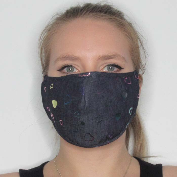 Metallic Heart Cotton Mask with Adjustable Straps