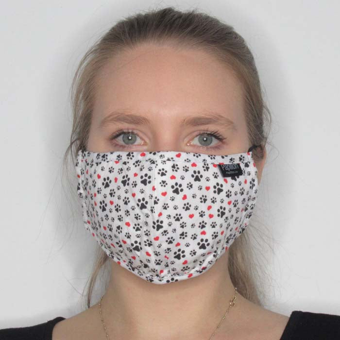 Paw Print Cotton Mask with Adjustable Straps
