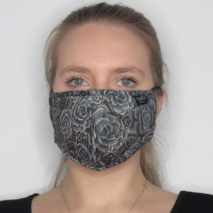 Succulent Print Cotton Mask with Adjustable Straps