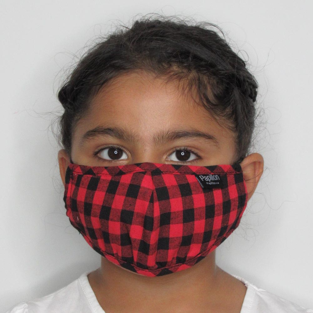 Kids Red Gingham  Cotton Mask  with Adjustable Straps