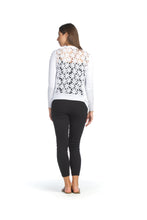 Load image into Gallery viewer, ST-1302 - White - Cardigan with Crochet Floral Back
