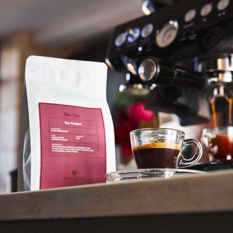 Artisan Coffee Co espresso machine the enigma packaging glass cup