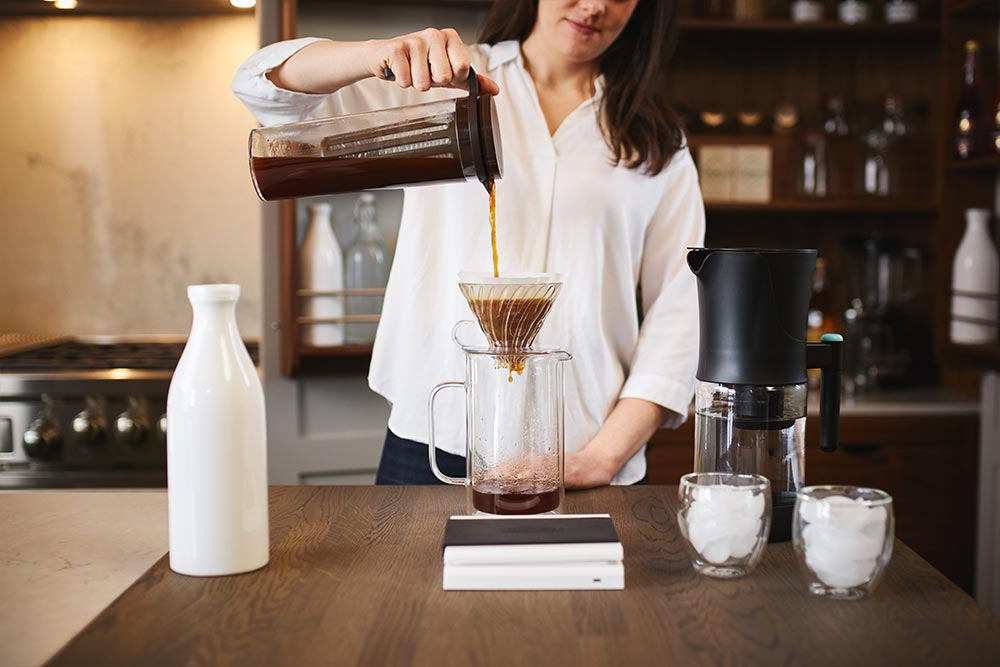 artisan coffee co coldbrew brewguide pour cold brewer filter paper milk jug water fridge