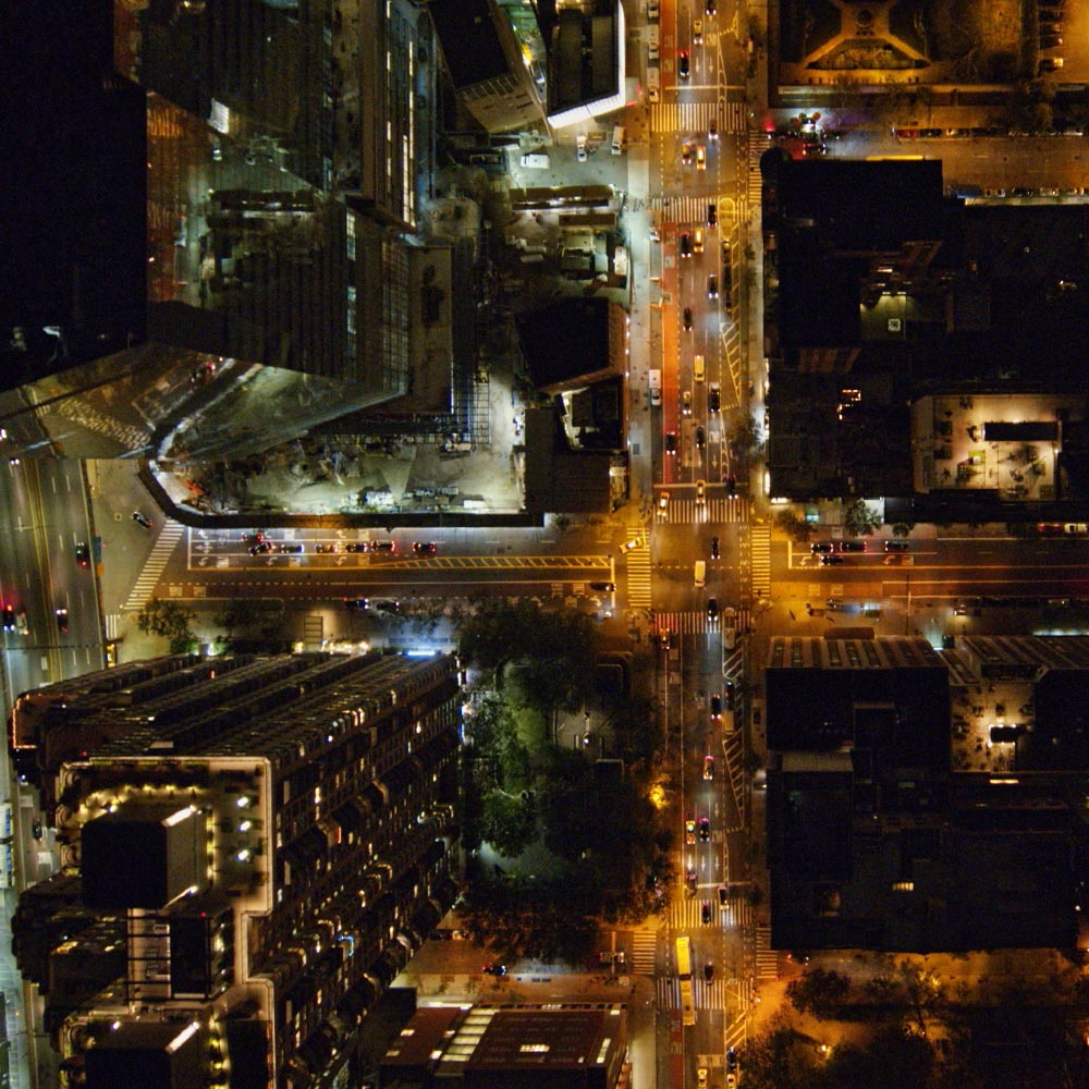 Artisan Coffee Co aerial shot city scape night time
