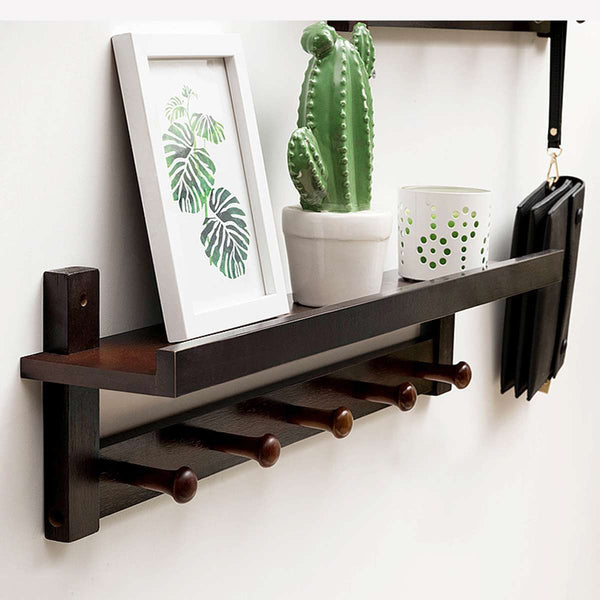 Wall Mounted Bamboo Wooden Key Hanger and Coat Rack