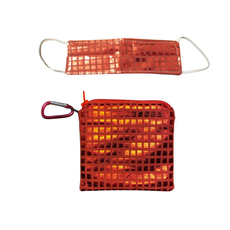 Kids Red Metallic Mask & Pouch Set