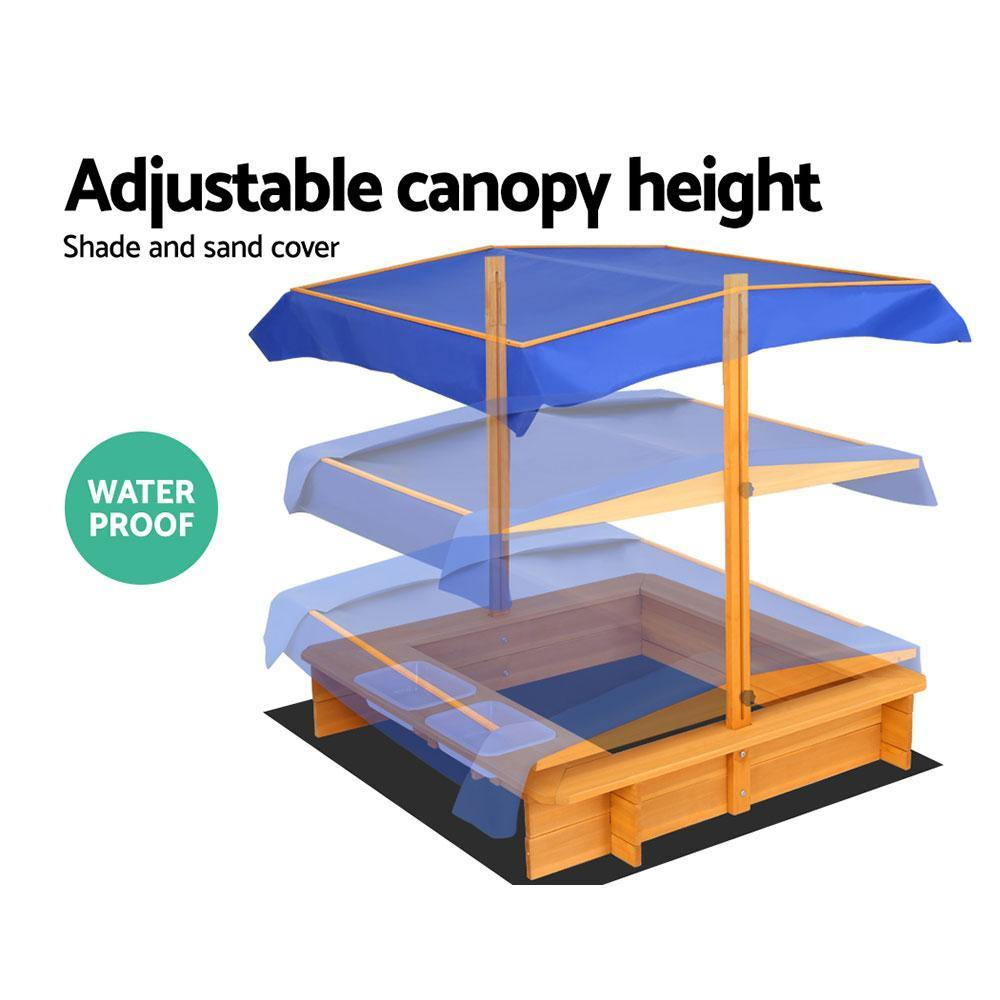 Outdoor Canopy Sand Pit With Waterproof Cover - 2uDirect Australia