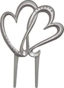 Two Hearts Cake Topper - silver