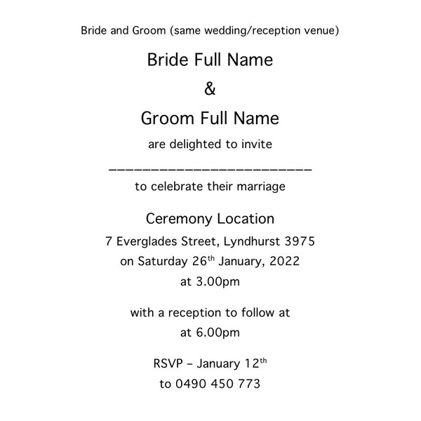 Invitation template details