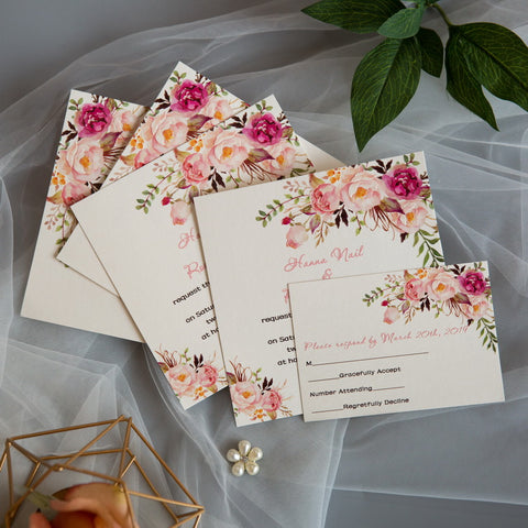 Exquisite Spring Pink Floral Invitation