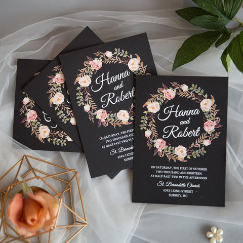 Stunning Rustic Floral Wreath Invitation