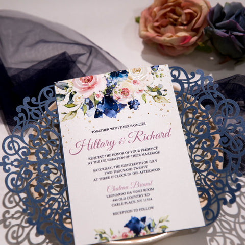 Blush & Navy Floral Invitation