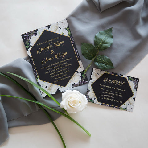 Rural White Floral Invitation