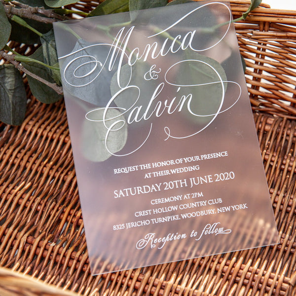 Frosted Acrylic Invitation with White UV printing