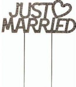 Just Married Diamante Cake Topper