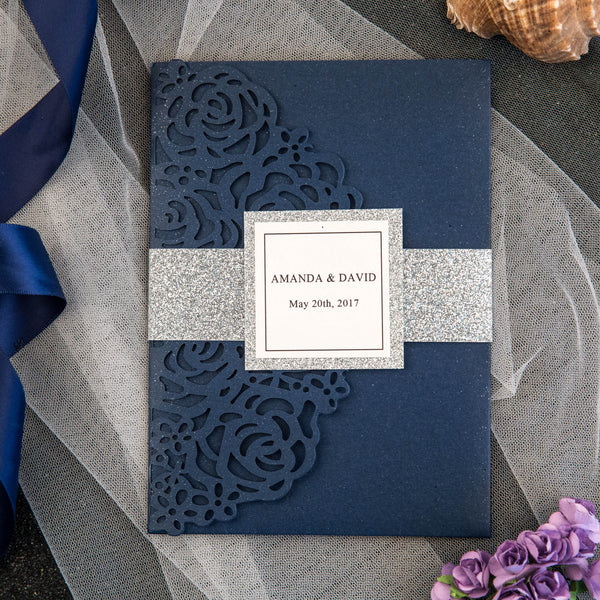 Rose Design Navy Tri-fold Pocket Invitation (Ready 2 GO Set)