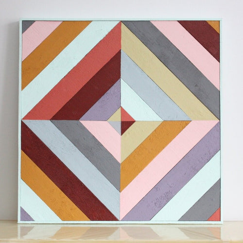 Multicolour wooden quilt.
