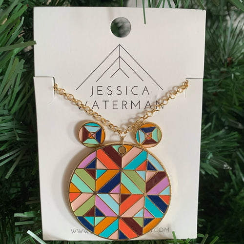 Set of multicolour circle necklace and earrings.
