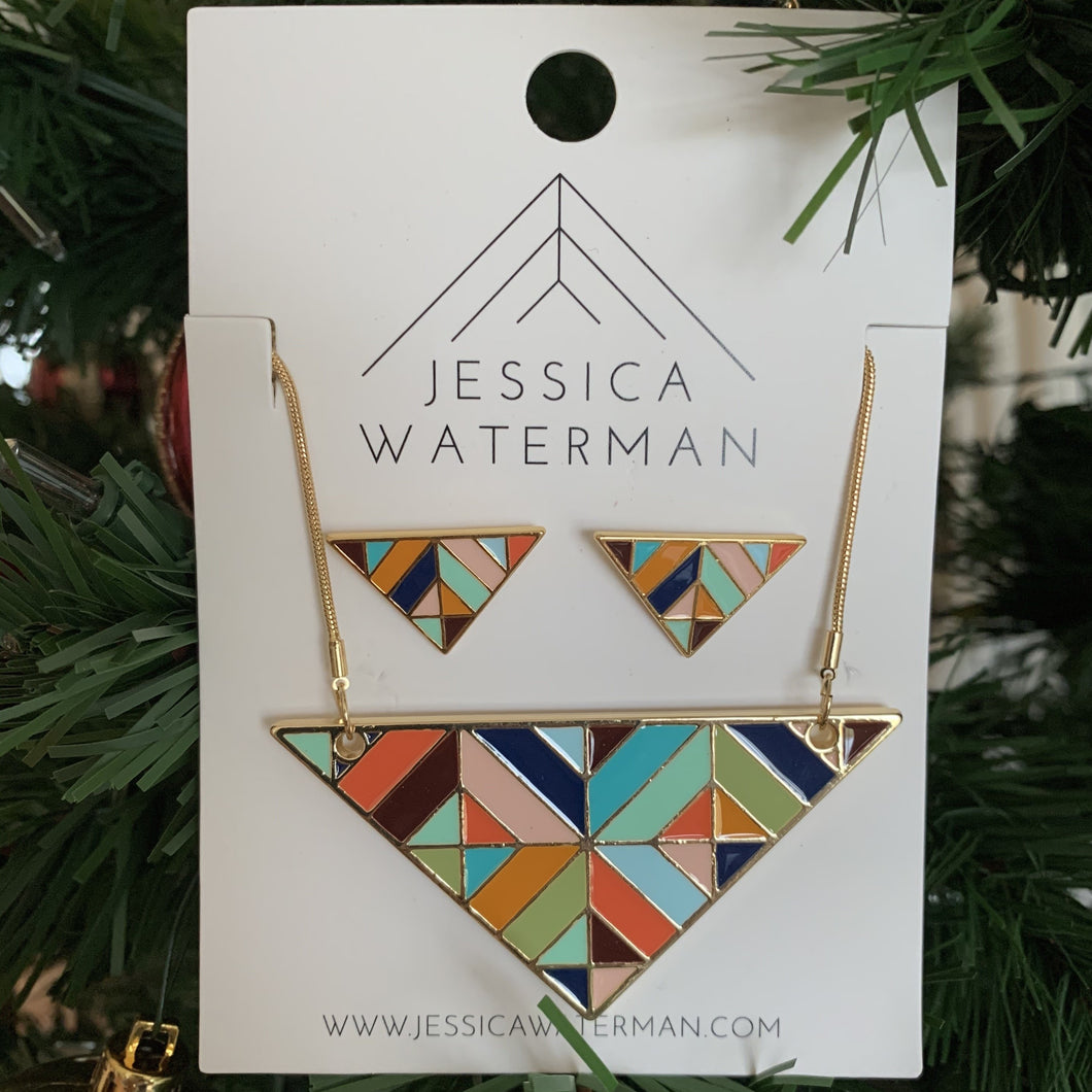 Set of multicolour triangle necklace and earrings.
