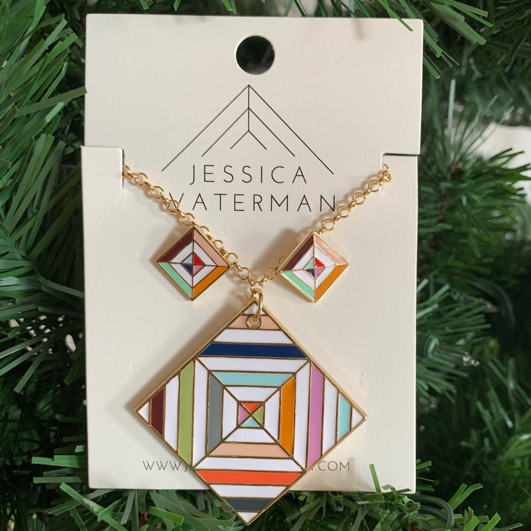 Set of white and multicolour square necklace and earrings.