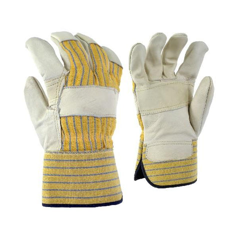 10/4 Job Work Glove-Cowgrain Palm lined Striped