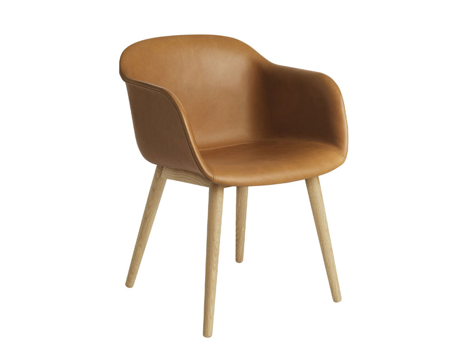 Muuto Fiber Armchair, Wood base, læder