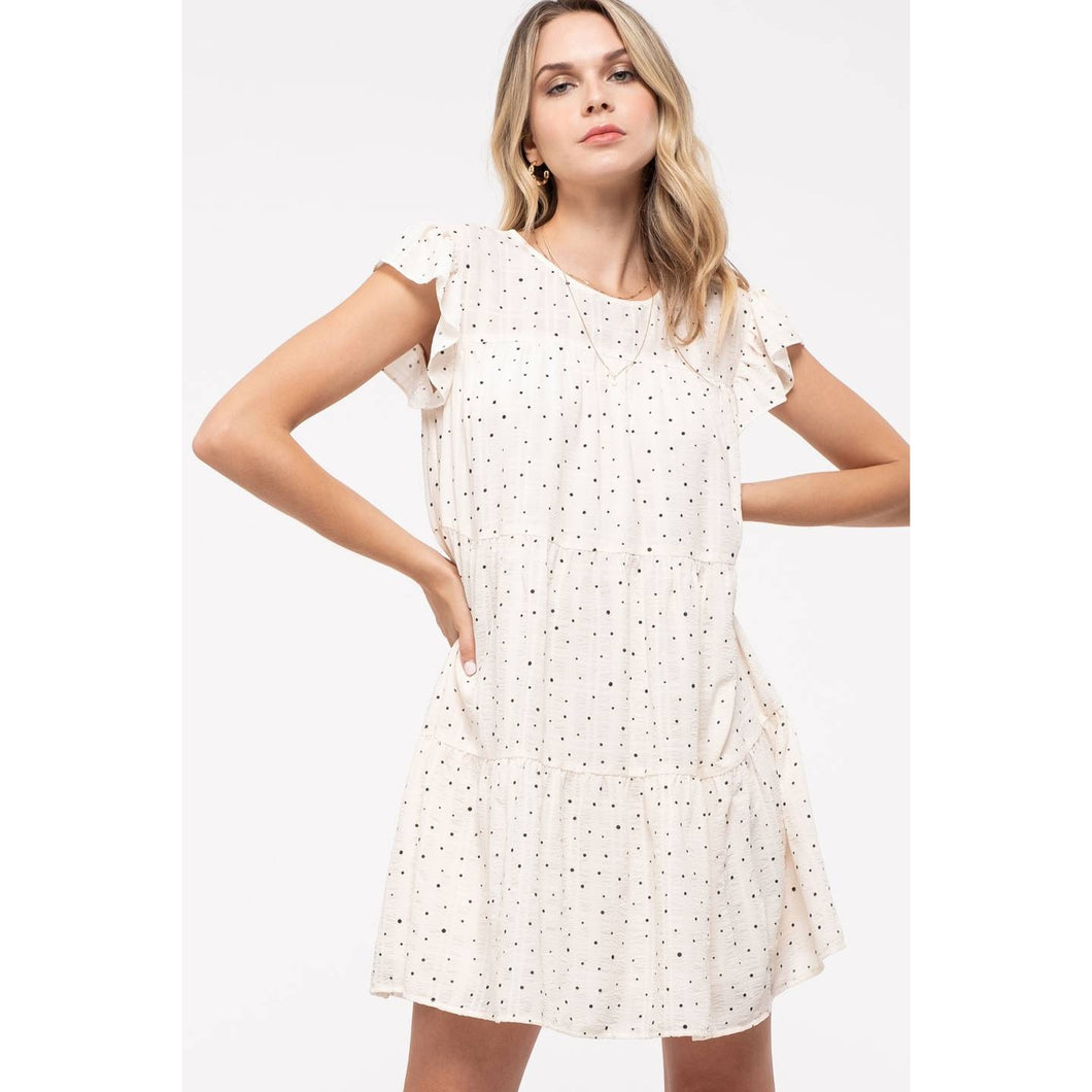 Dot-Print Tiered Dress